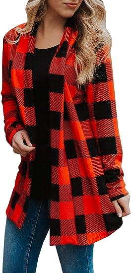 Yskkt Womens Buffalo Plaid Long Sleeve Plus Size Open Front Elbow Patch Cardigans
