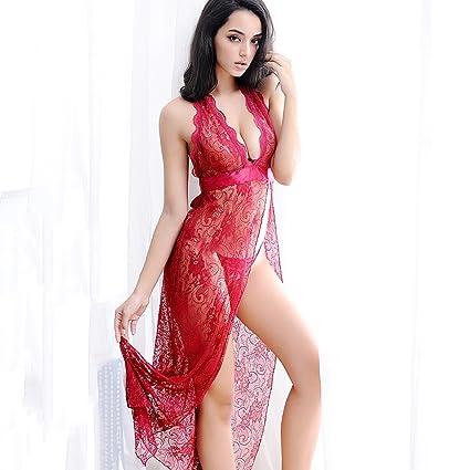 Falda de dormir transparente hilo de rosca femenina extrema sexy pijama  tentación lencería vestido de encaje f83fa397281e