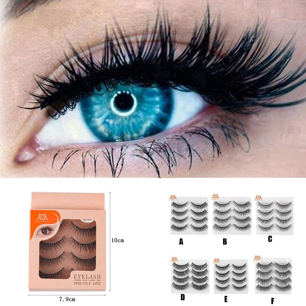 9ec7c7e52be Amazon.com : Bessyn False Eyelashes 4 Pair Luxury 3D Fluffy Strip Eyelashes  Long Natural Party Fash Eyelash Serum Ultra Thick Ultra Soft Handmade  Reusable ...