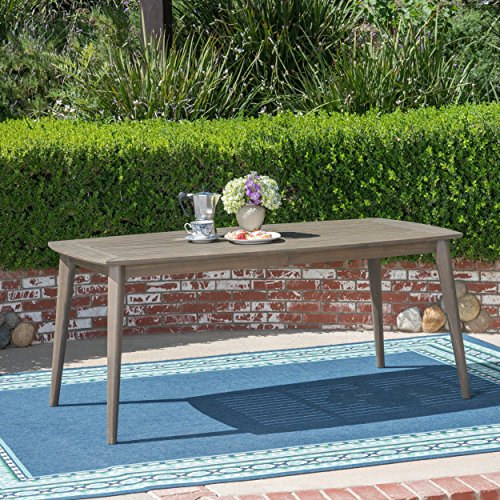 Christopher Knight Home 305138 Fred Outdoor Acacia Wood Rectangular Dining Table, Gray, Finish