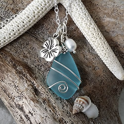 (Handmade in Hawaii, wire wrapped blue sea glass necklace, Hawaiian state flower Hibiscus and freshwater pearl, sterling silver chain, Mother's Day Gift, FREE gift wrap, FREE gift message)