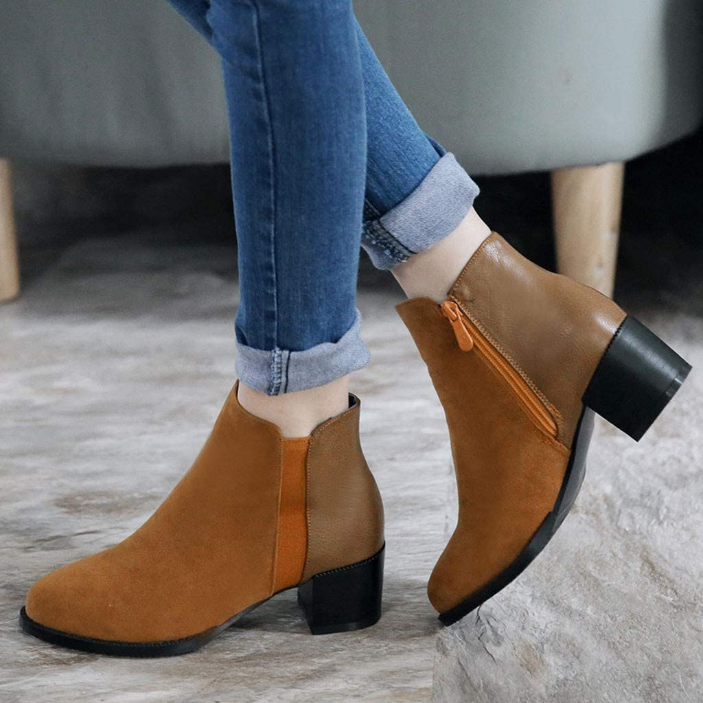 Womens Point Toe Side Zipper Chunky Ankle Boots Slip On Low Stacked Heel Shoes by Nevera Yellow