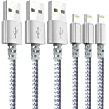 Chargers, Moallia 3-Pack 6-Feet Extra Long Charging Cable Durable Fast Charging Data Sync Cord Compatible with iPhone X, iPhone 8, iPhone 7, iPhone 6, iPhone 5, iPad Mini & More(White)