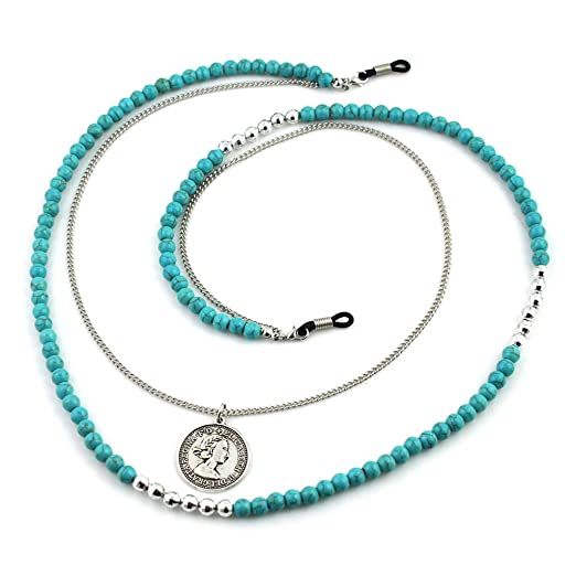 bb84fef9cd Image Unavailable. Image not available for. Color  Bduco Women Fashion  Reading Glasses Chain Green Beads Chains Anti-slip ...