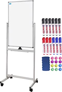 Amazon Com Magnetic White Board Mobile Rolling Whiteboard 40 X 24 Inch Double Sided Writing Easel Style Dry Erase Board On Wheels Office Products