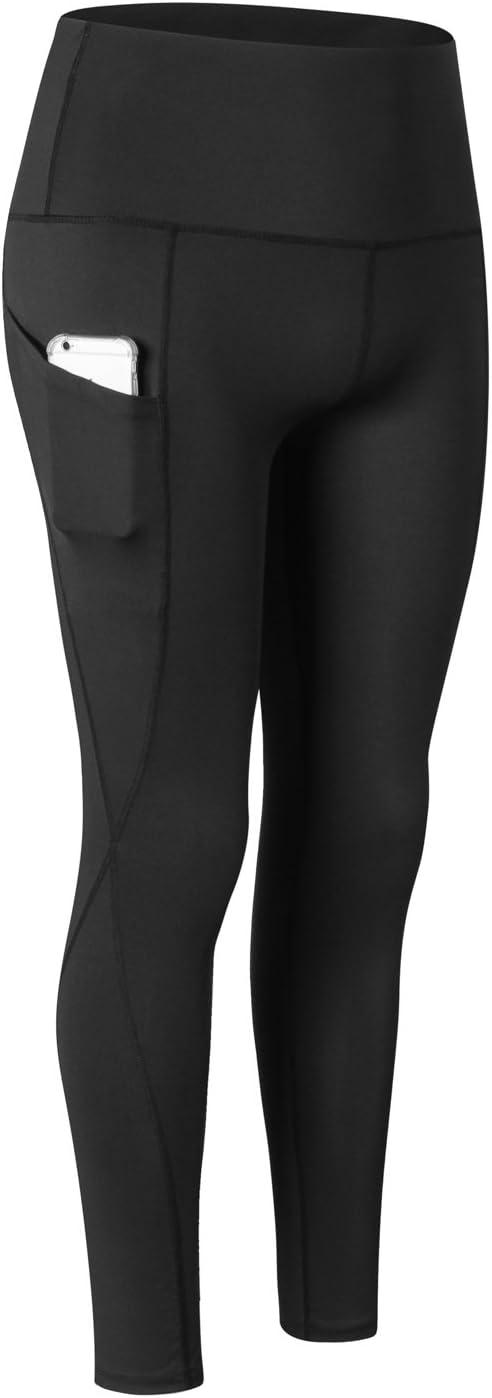 RoxZoom Pantalones Deportivos Ajustables para Mujer con Función de Secado Rápido, Pantalones de Fitness con Bolsillo para Correr, Yoga, Negro, S