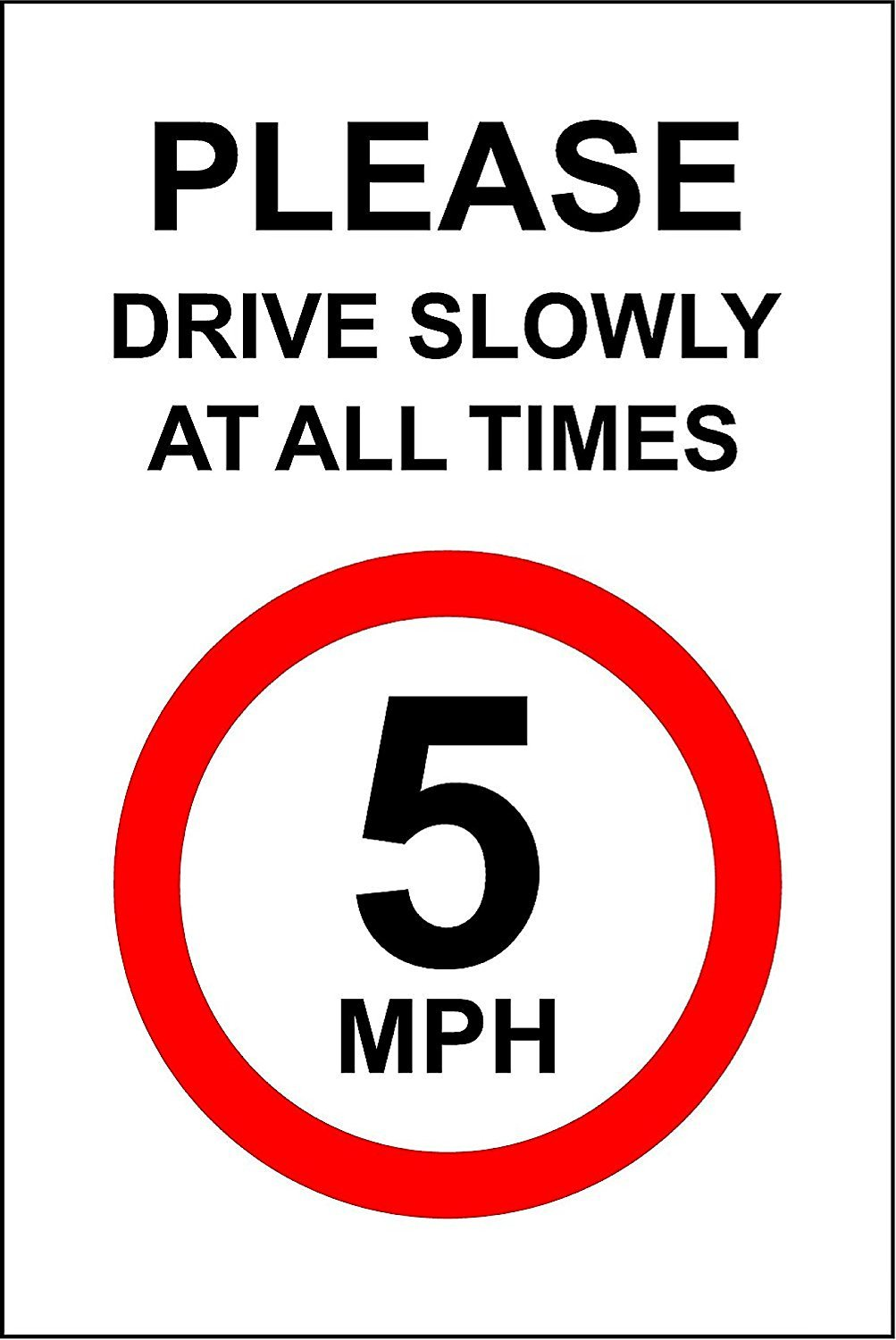 Slow 15 Mph Speed Limit Sign Safety Sign Plastic Pl 96