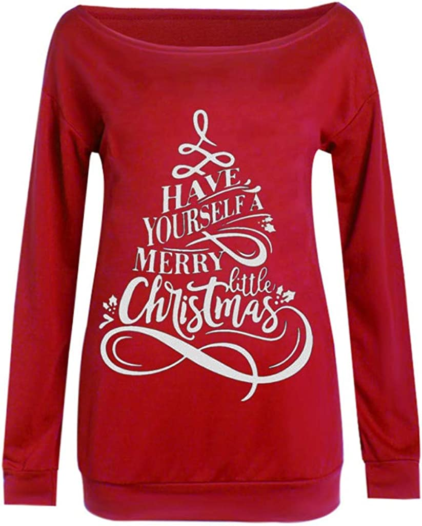 Gofodn Merry Christmas Tops for Women Pullover Sweatshirt Casual Plus Size Strapless Shoulder Long Sleeve Sling Blouse