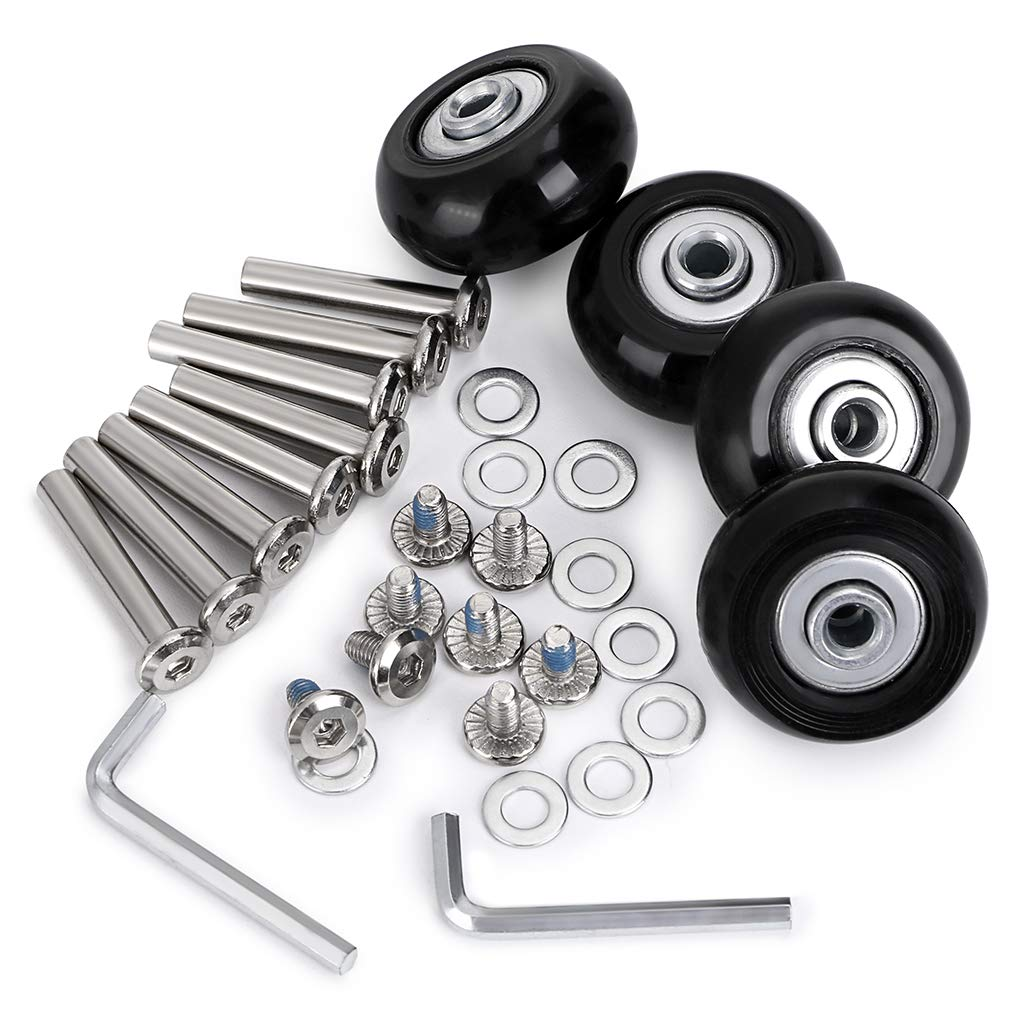 BTSKY 4 Sets of 40 x 18mm Luggage Suitcase Replacement Wheels, Bearings Repair Set for Luggage Kits