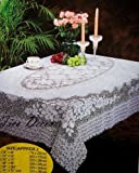"""Vinyl Tablecloth Lace crochet Style 54""""x72"""" White Table Cloth"""