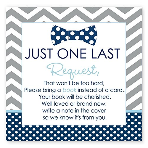 Mod Mom Theme - Bow Tie Baby Shower Book Insert Card Set of 25