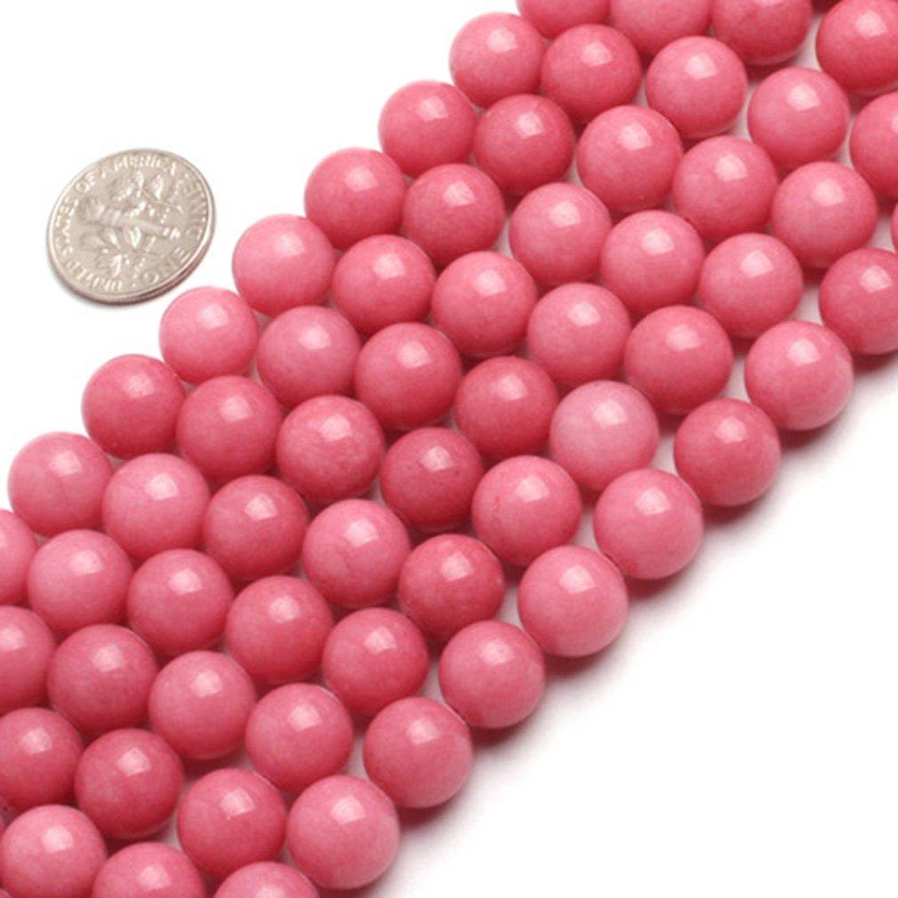 10mm Round Gemstone Pink Jade Beads Strand 15 Inches Jewelry Making Beads