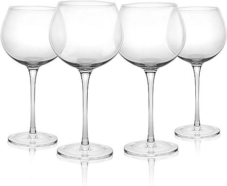 Vasos de Ginebra - Set de 4 | Vasos de cóctel 700ml | Copa de Balón Ginebra | Juego de vajilla de vidrio | M&W