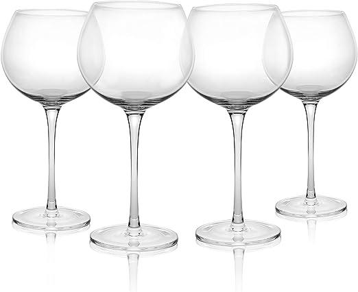 M/&W Set de 4 Juego de vajilla de vidrio Vasos de Ginebra Copa de Bal/ón Ginebra Vasos de c/óctel 700ml