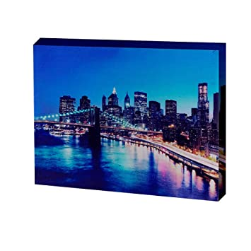 Led Lighted Canvas Printing City Night Scene Wall Decor Framed Canvas Wall Art For Home Decoration Size 12x16 Inch Amazon In Home Kitchen