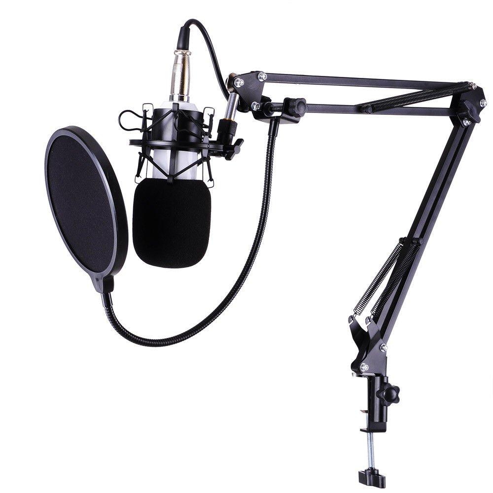 MiSHULIS Condenser Microphone Kit Studio Pop Filter Boom Scissor Arm Stand Shock Moun