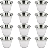 Kosma set of 12 Stainless Steel Condiment Cups | Pots Dish | Sauce Cup| Sauce Salad Dressing Cups 2.5 oz (70 ml)