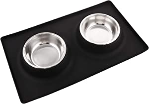 Dog Bowls with Silicone Mat, Dog Food Mat with Removable Stainless Steel Bowl (13.5oz Each), No Spill Non-Skid Mat Food Water Bowl for Pet Puppy Small Animals (Square, Black)