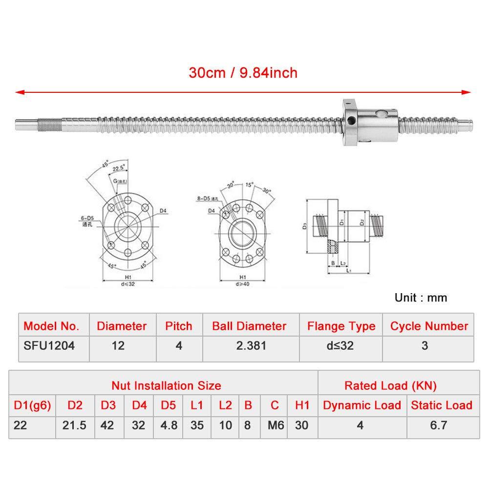 SFU1204 300mm Rolled Ballscrew Ballnut Anti-Backlash Without Side End Supports 30mm Ballscrew