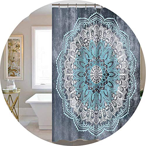 Heroic spirit Shower Curtain Lotus Printed Bohemian Waterproof Bathroom Accessories Curtains Shower Polyester Fabric,MYSC1093,180X180CM ()