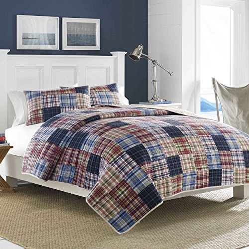 Nautica Blaine Cotton Reversible Quilt, Twin, Blue/Red