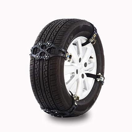 LGZOOT Cadenas De Nieve 4Pcs Negro Amarillo Aleatorio PTU Auto Coche Rueda Neumático Antideslizante,Black