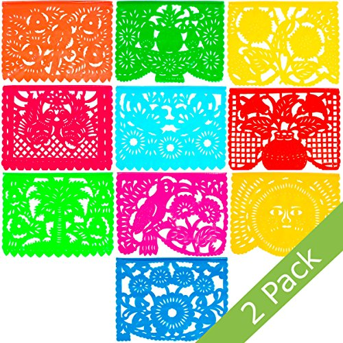 Large Plastic Papel Picado Banner - 15 Feet Long - Two Designs to choose from (2 Pack, All Occasions) ()
