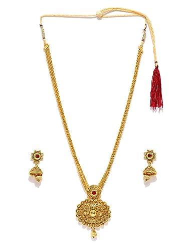 6a336ede1f Zaveri Pearls Long Designer Necklace Set for Women (Golden) (ZPFK4414)