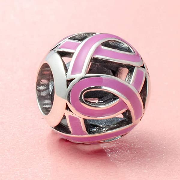 Fine Charms & Charm Bracelets Sterling Silver Enameled Pink Ribbon Charm Skillful Manufacture