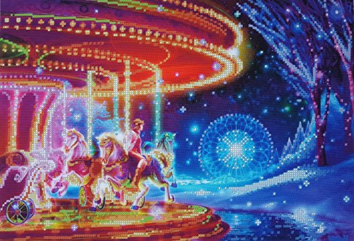 Bead Embroidery kit Dreamscape Carousel Needlework Carousel Horse Fantasy Wall Art Merry Go Round beadpoint Vintage Bead Stitching Handcraft ()