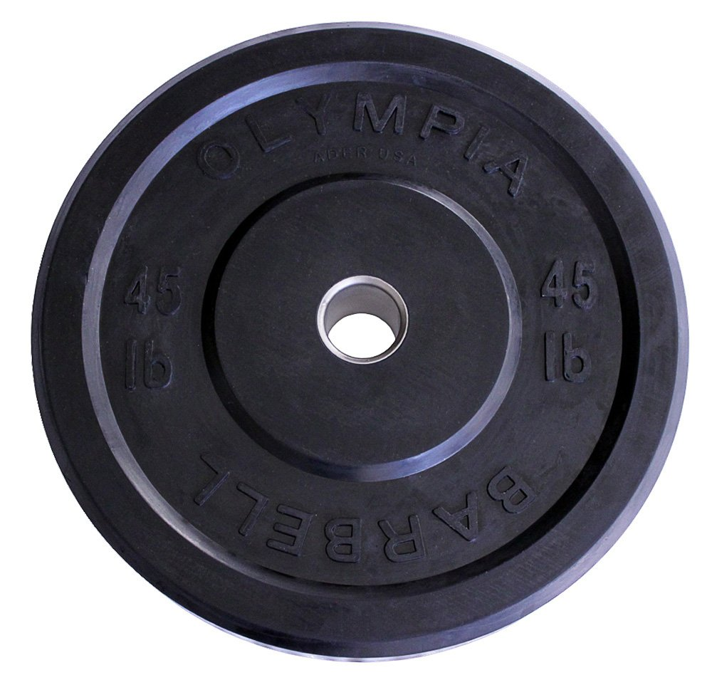 45 lb Solid Rubber Weight Plates Black Pair