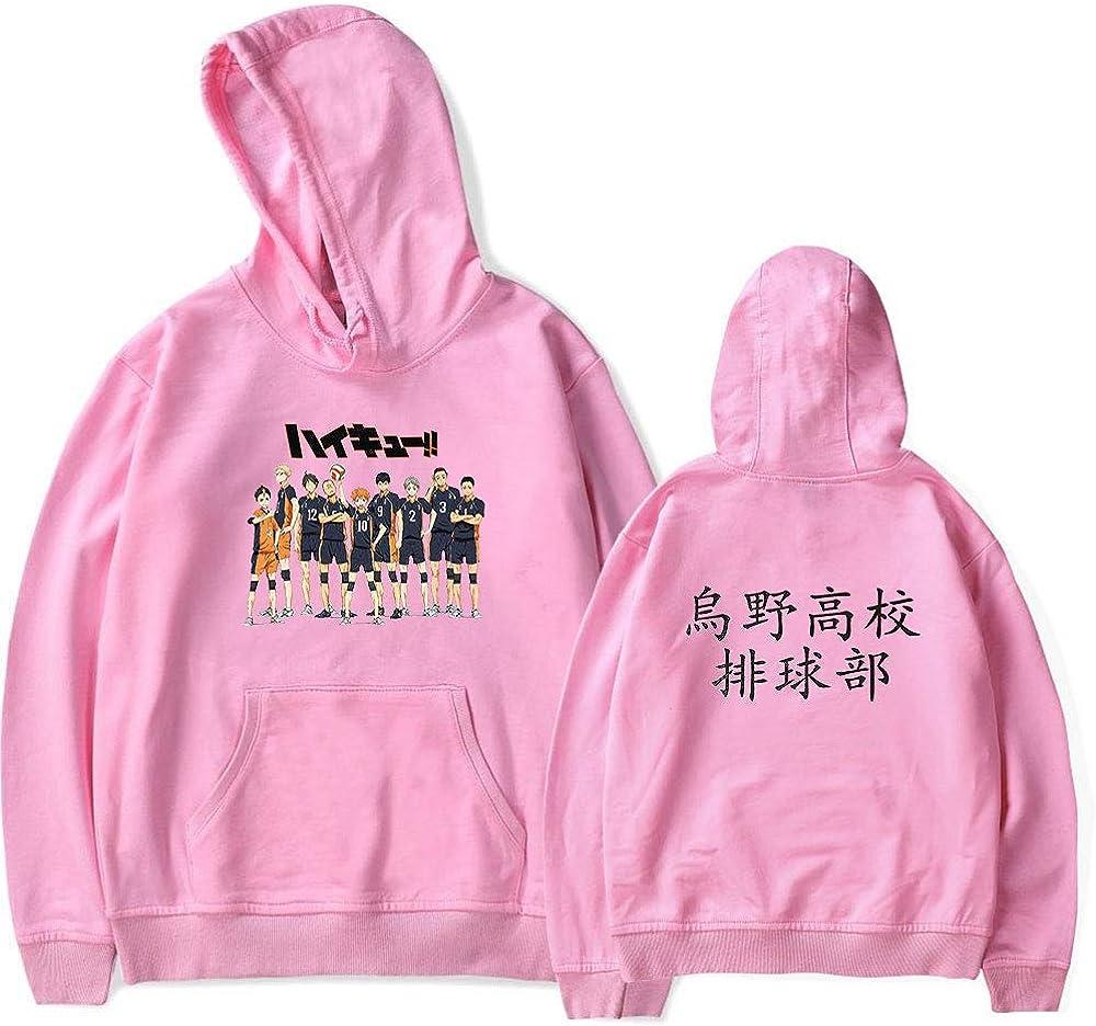 Instalaci/ón Costume Cosplay Haikyuu da Uomo Karasuno Shoyo Hinata Felpe con Cappuccio Giacca Pullover Anime Abbigliamento Sportivo Cappotto Felpa per Adulto Unisex