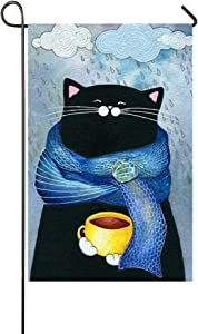 Blue Scarf Black Cat Hold Coffee Enjoy The Rainy Day 12.5x18 Inch House Flag - Double Sided Decorative Outdoor Flag