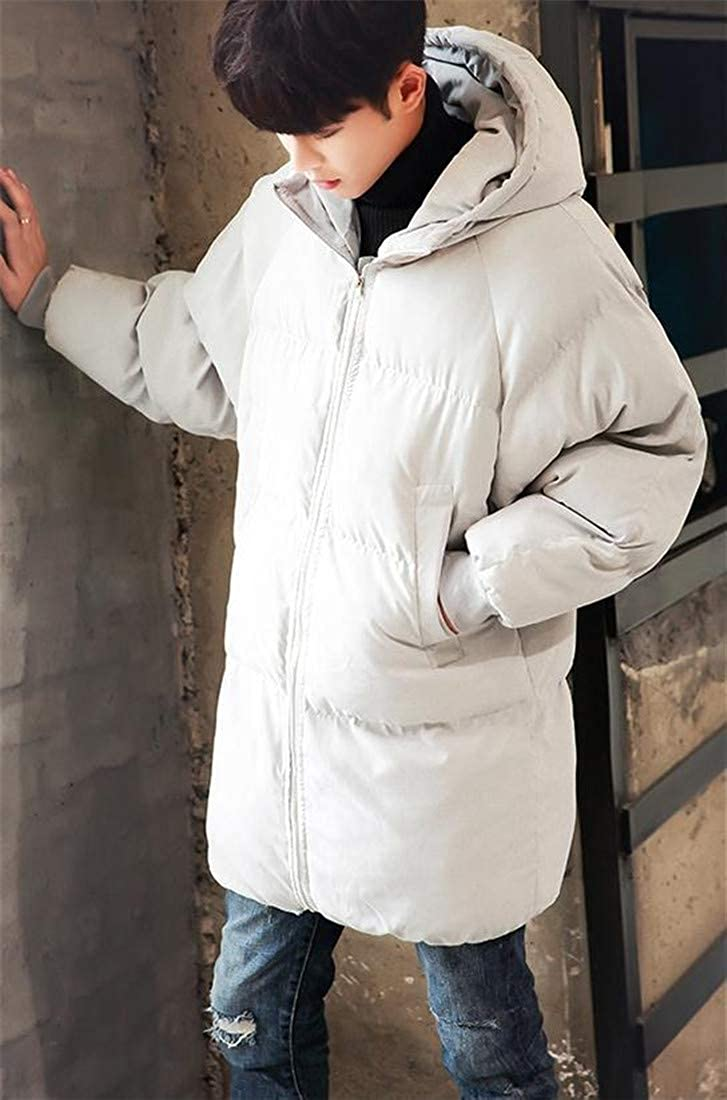 Agana Mens Packable Thick Hooded Quilted Puffer Down Jacket Overcoat Parka Coat