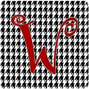 "Caroline's Treasures CJ1035-WFC Monogram-Houndstooth Black Foam Coasters (Set of 4), Initial Letter W, 3.5"" H x 3.5"" W, Multicolor"
