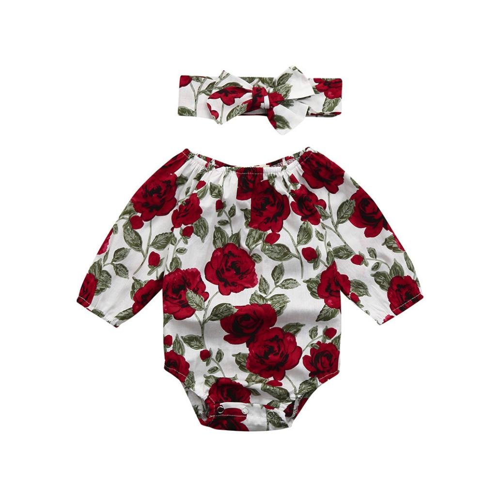 fc4535c5d937 Amazon.com: Minisoya Cute 2Pcs Toddler Infant Baby Girls Princess Party  Floral Romper Jumpsuit Bow Headband Casual Oufit Set: Clothing