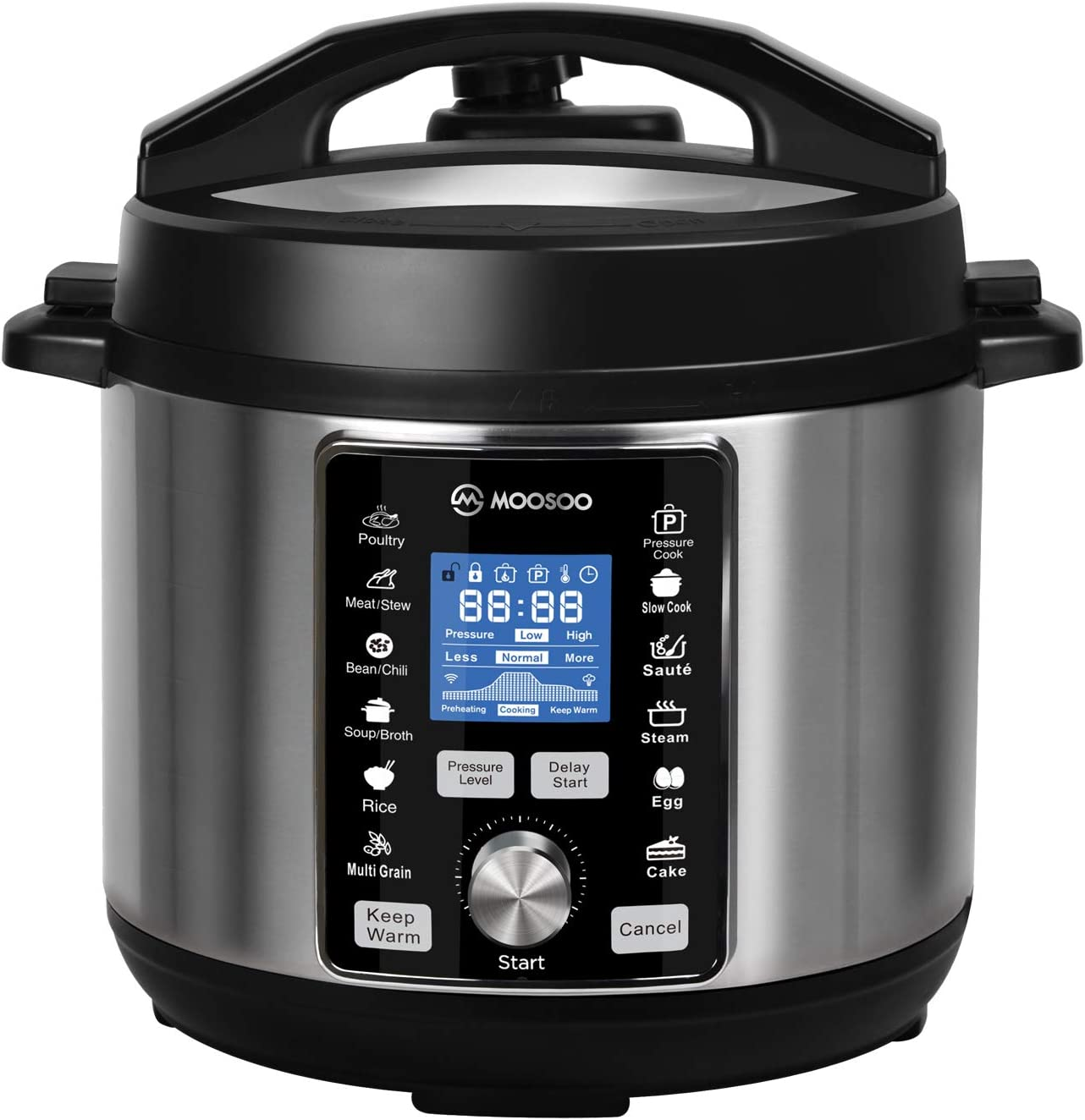 MOOSOO 12-in-1 Electric Pressure Cooker, 6QT Instant One-Touch Pressure Pot, Stain-Resistant Pressure Cooker, Slow Cooker, Steamer, Saute, Yogurt Maker, Egg Cooker, with ETL Certified, 11+ Accessories and Recipes
