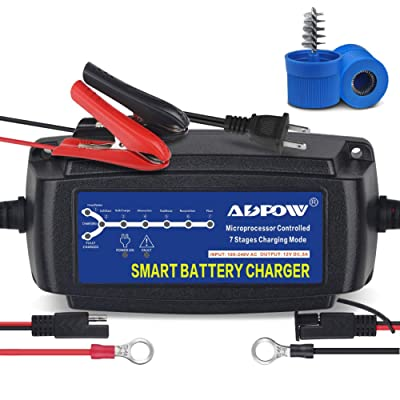 ADPOW 5A 12V Automatic Smart Battery Charger Automotive Maintainer 7-Stages Trickle Charger for Deep Cycle Battery Car Marine Trolling Motor Boat Truck Lawn Mower RV AGM with Terminal Cleaning Brush: Automotive
