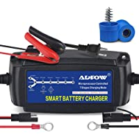 ADPOW 5A 12V Automatic Smart Battery Charger Automotive Maintainer 7-Stages Trickle Charger for Deep Cycle Battery Car Marine Trolling Motor Boat Truck Lawn Mower RV AGM with Terminal Cleaning Brush