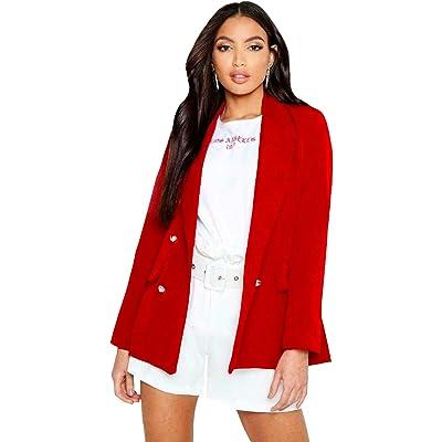 SA Fashions Elegante Chaqueta de Doble Pecho con Botones Dorados para Mujer, Estilo Militar, Color Negro Rojo Rosso 54: Ropa y accesorios