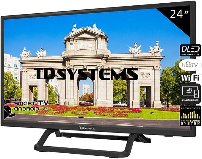 Televisiones Smart TV 24 Pulgadas Android 7.0 y HBBTV, 800 PCI Hz, 2X HDMI, 2X USB. DVB-T2/C/S2, Modo Hotel - Televisores TD Systems K24DLX11HS: Amazon.es: Electrónica