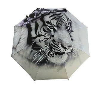 LuK aceite 3d pintura y creative tigre cabeza paraguas Manual Plegable Sol/lluvia paraguas