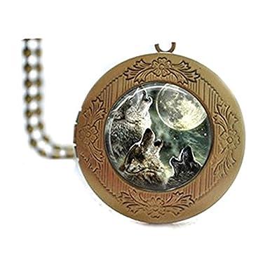 venta caliente online b63dd 24542 Azulejos de cristal collar con camafeo collar con lobo luna ...