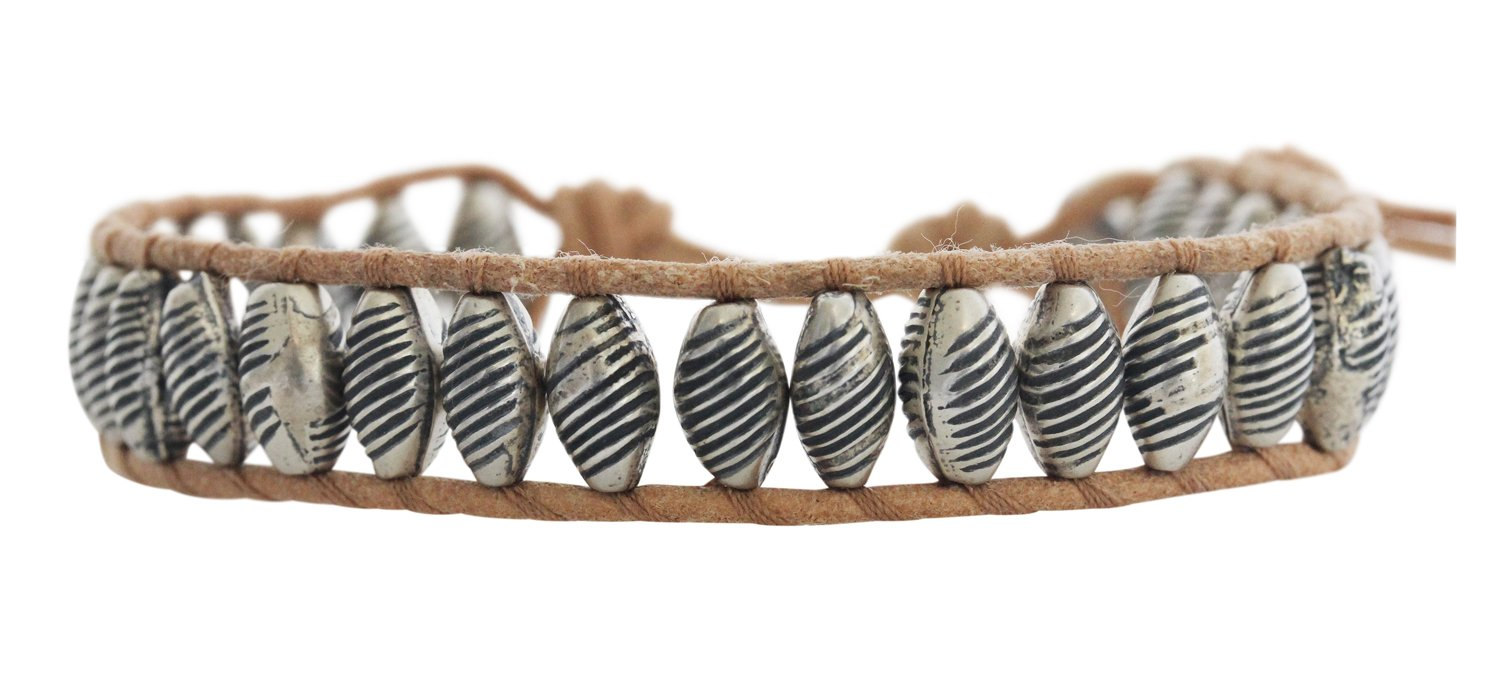 Chan Luu Antiqued Silvertone Textured Beaded Beige Single Wrap Leather Bracelet BS-4373