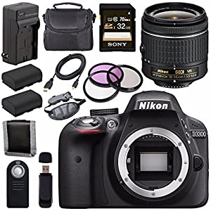 Nikon D3300 DSLR Camera with AF-P 18-55mm VR Lens (Black) + EN-EL14 Replacement Lithium Ion Battery + External Rapid Charger + Sony 32GB SDHC Card + Carrying Case Bundle