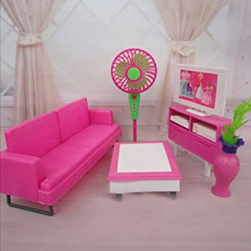 Barbie Doll House Furniture, Living Room Kit, Sofa, TV, Fan & Coffee Table