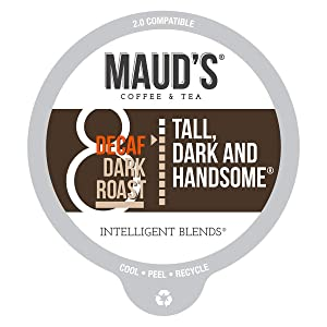 Maud's Decaf Dark Roast Coffee (Decaf Tall Dark & Handsome), 100ct. Recyclable Single Serve Coffee Pods – Richly satisfying arabica beans California Roasted, k-cup compatible including 2.0