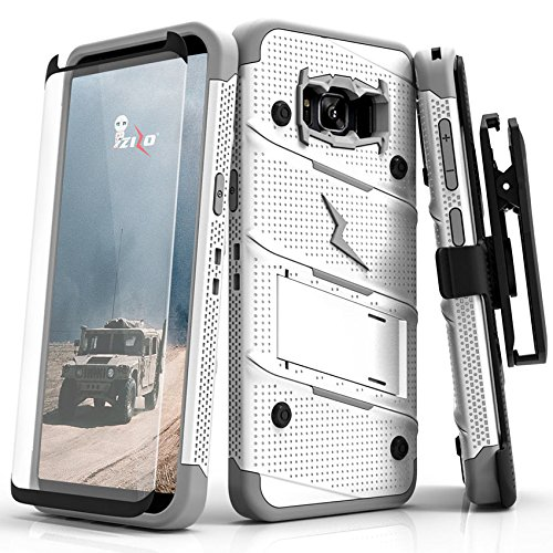 Zizo Bolt Series Compatible with Samsung Galaxy S8 Plus Case Military Grade Drop Tested with Tempered Glass Screen Protector Holster White Gray