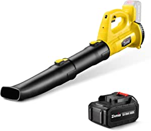 Cordless Leaf Blower Snow Sweeper - Zivnia 21V 4.0Ah Leaf Blower with Battery & Charger for Lawn Care, Powerful, 350 CFM 150 MPH 6-Speed Dial, Lightweight Battery Powered Blower, Low Noise, Yellow