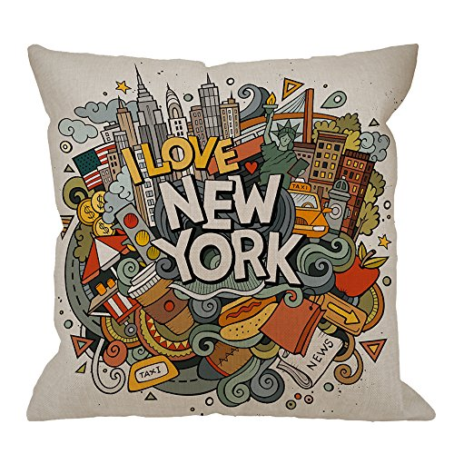 HGOD DESIGNS New York Decorative Throw Pillow Cover Case,Cartoon Doodles Inscription American Cotton Linen Outdoor Pillow cases Square Standard Cushion Covers For Sofa Couch Bed 18x18 inch Colorful (Pillows Throw York New)